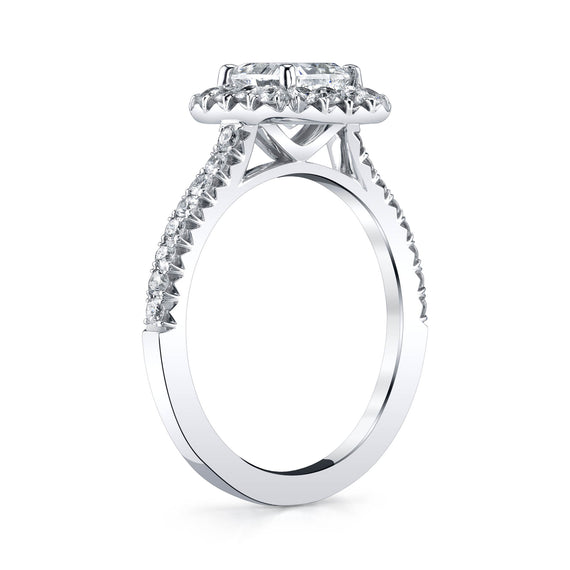 Radiant Cut Diamond Halo Engagement Ring