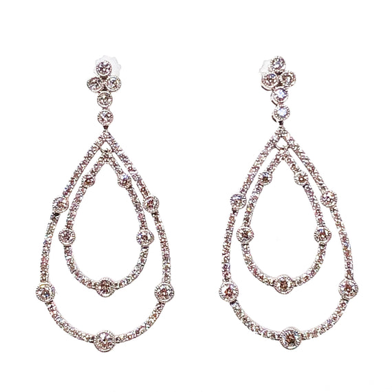 White Gold and Diamond Pear-Shaped Drop Earrings