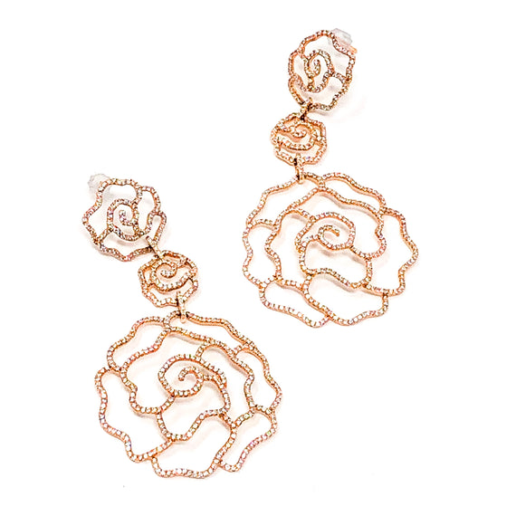 Rose Gold and Micro-pave Diamond Earrings