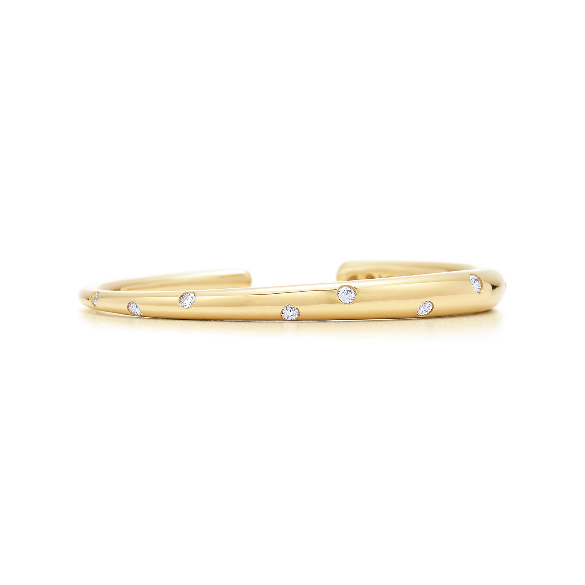 18k Yellow Gold Scattered Diamond Cuff