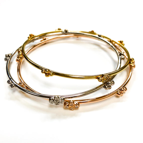 Thin Yellow Gold Bangle with Diamonds