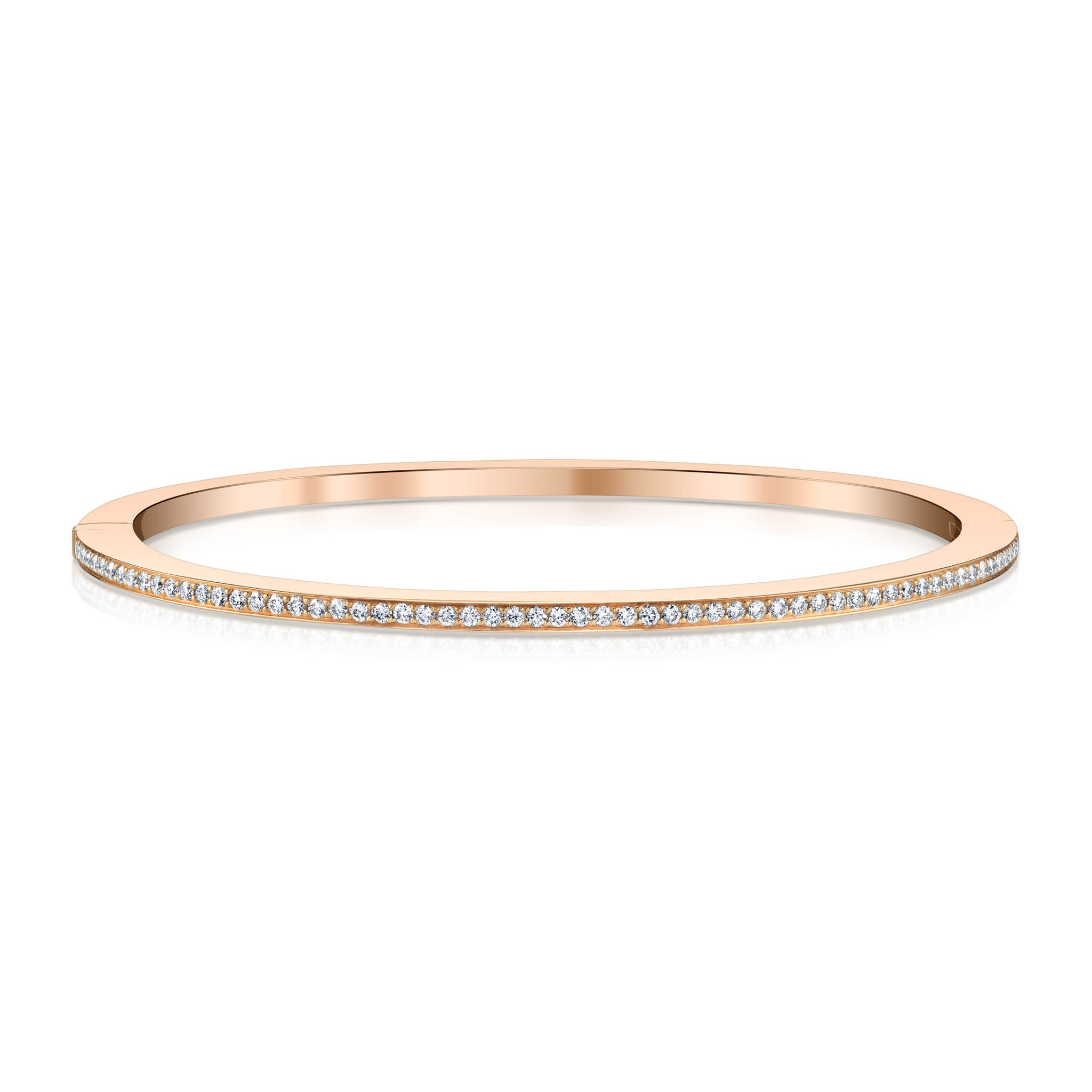 Rose Gold and Diamond Hinged Bangle