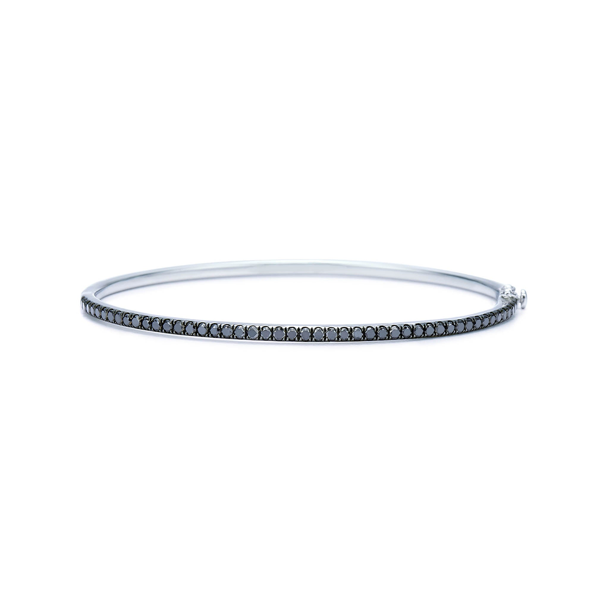 18k White Gold and Black Diamond Bangle