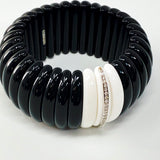 Hand-Carved Obsidian and Agate Bracelet with Diamonds