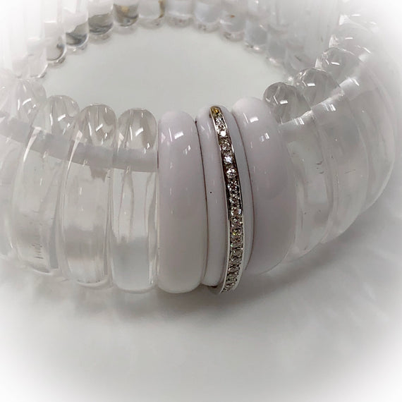 Hand-Carved Rock Crystal and Agate Bracelet with Diamonds