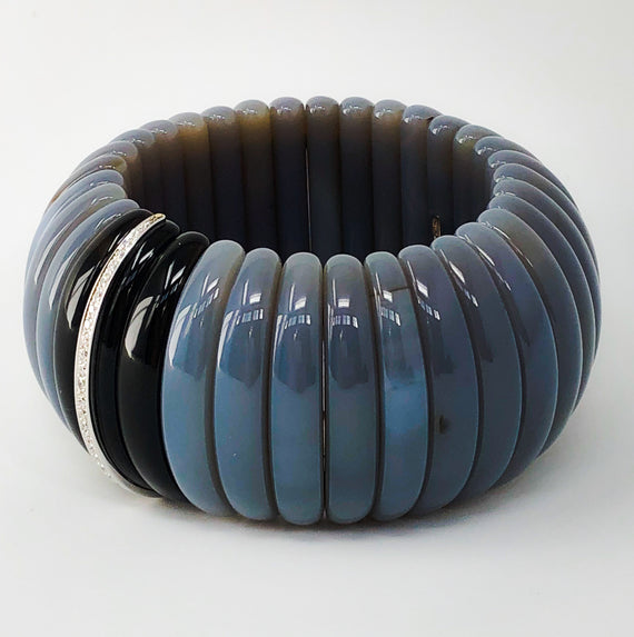 Hand-Carved Agate and Smokey Quartz Bangle with Diamonds