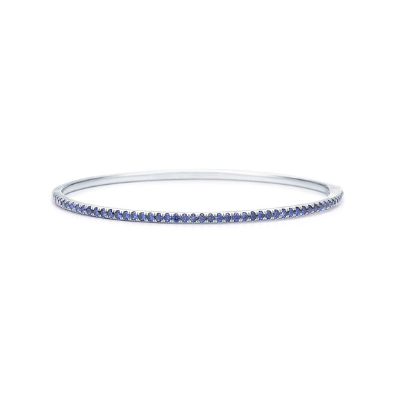 18k White Gold and Blue Sapphire Bangle