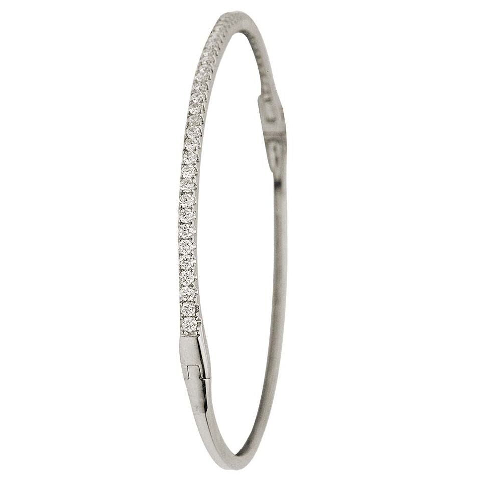 18k White Gold and Diamond Hinged Bangle