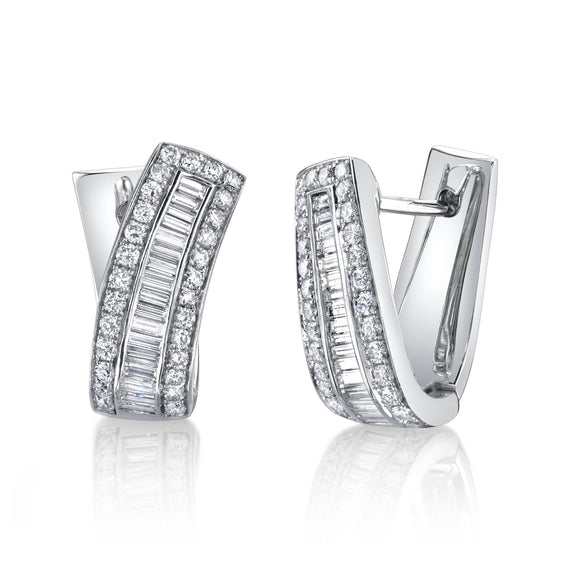 18k White Gold and Diamond Cuff Earrings