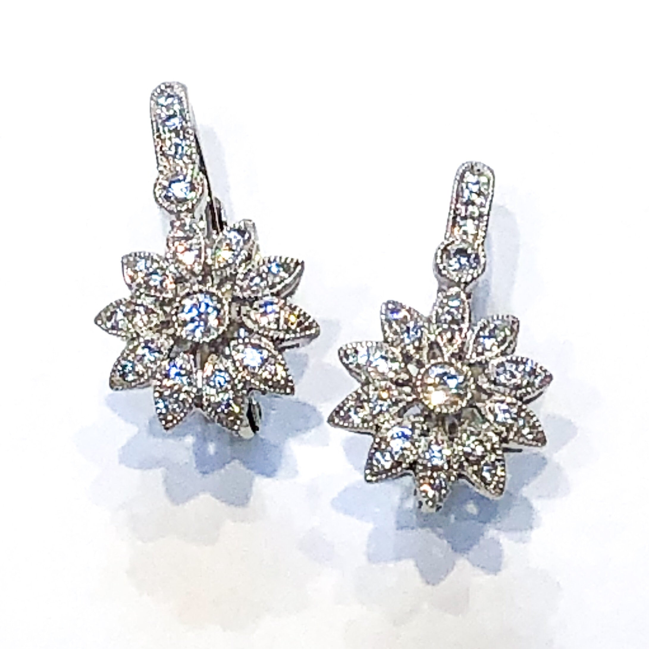 18kt White Gold and Diamond Pave Earrings