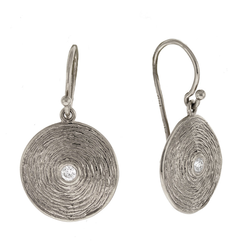 White Gold and Diamond Disc Earrings