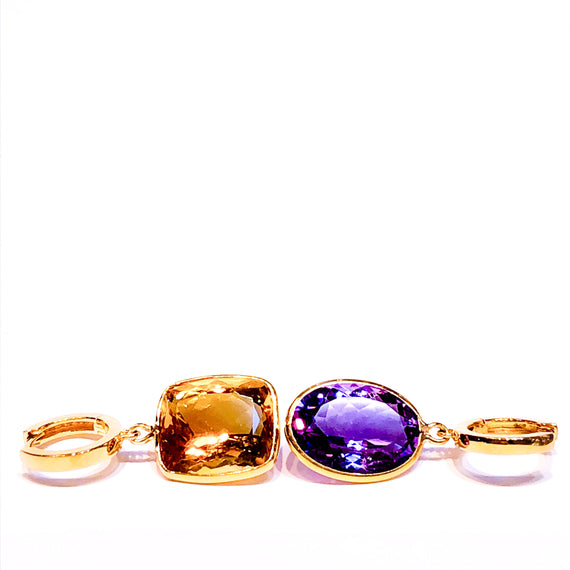 18kt Gold and Amethyst Drop Earrings