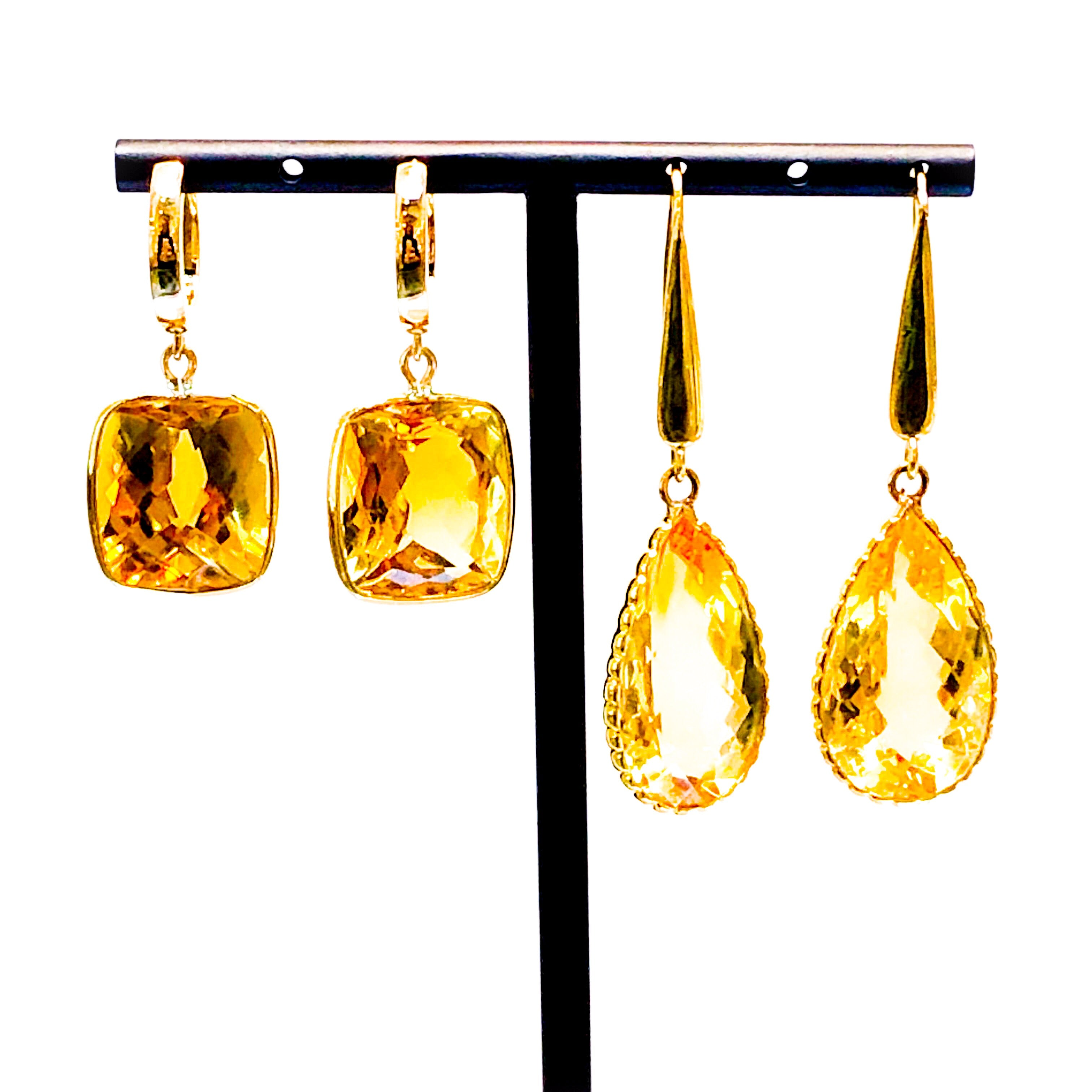 18kt Gold and Citrine Drop Earrings