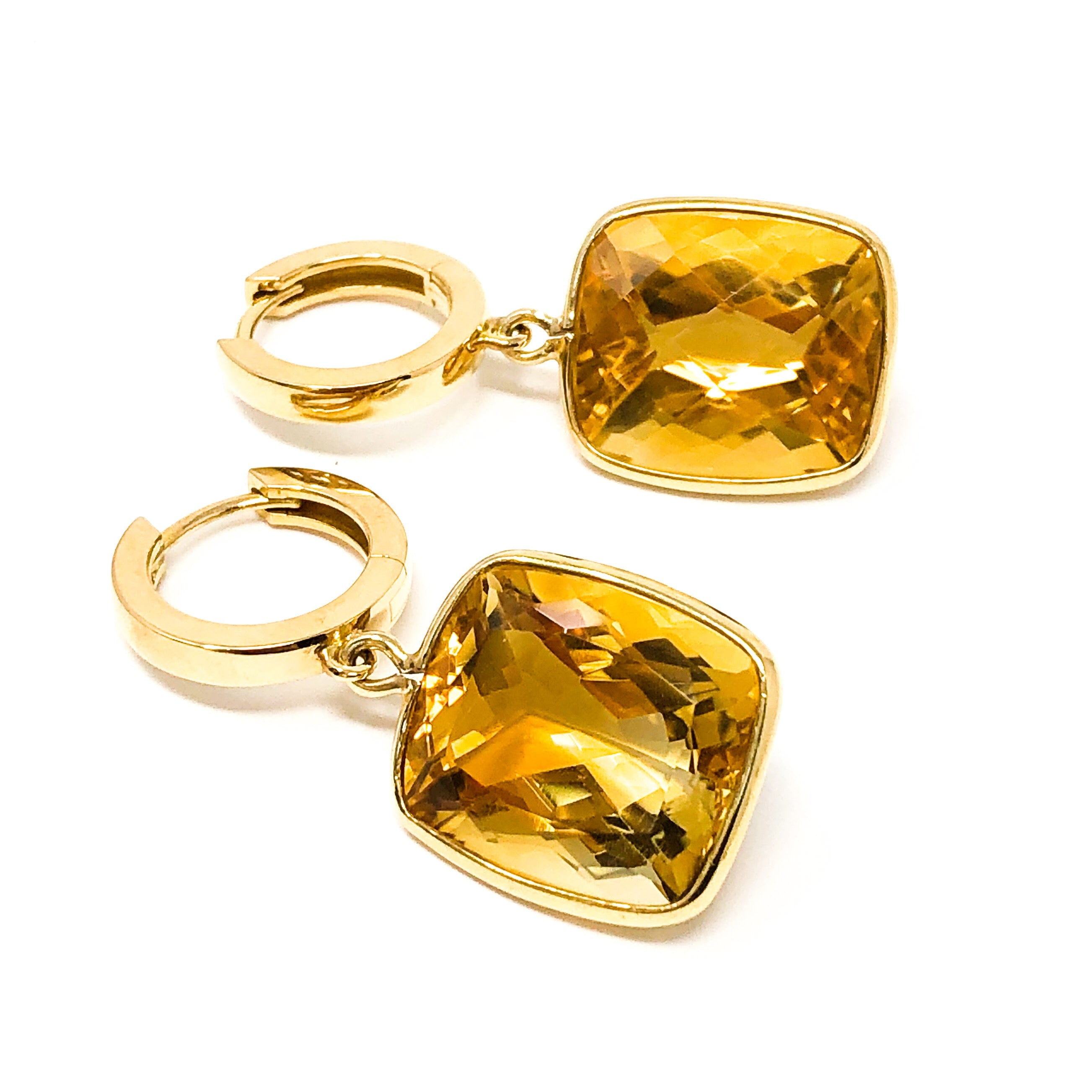 18kt Gold Citrine Drop Earrings