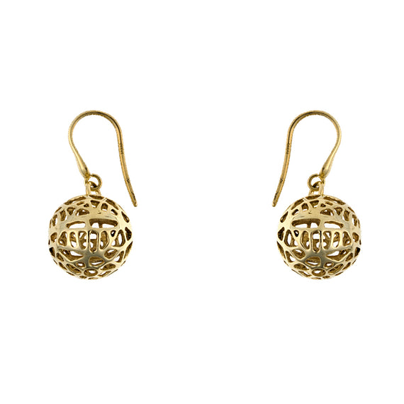 Yellow Gold Ball Earring Drops