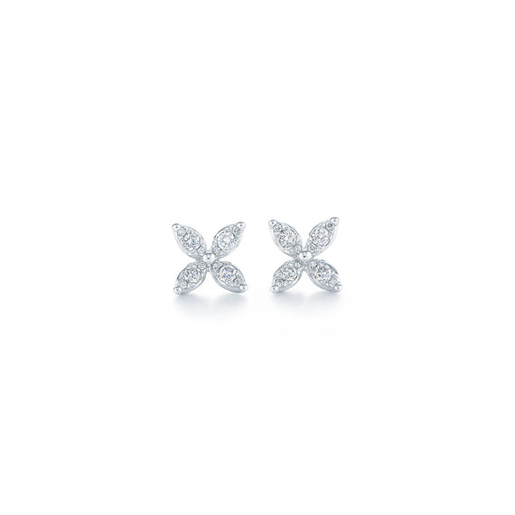 18k White Gold Kwiat Sunburst Diamond Earrings