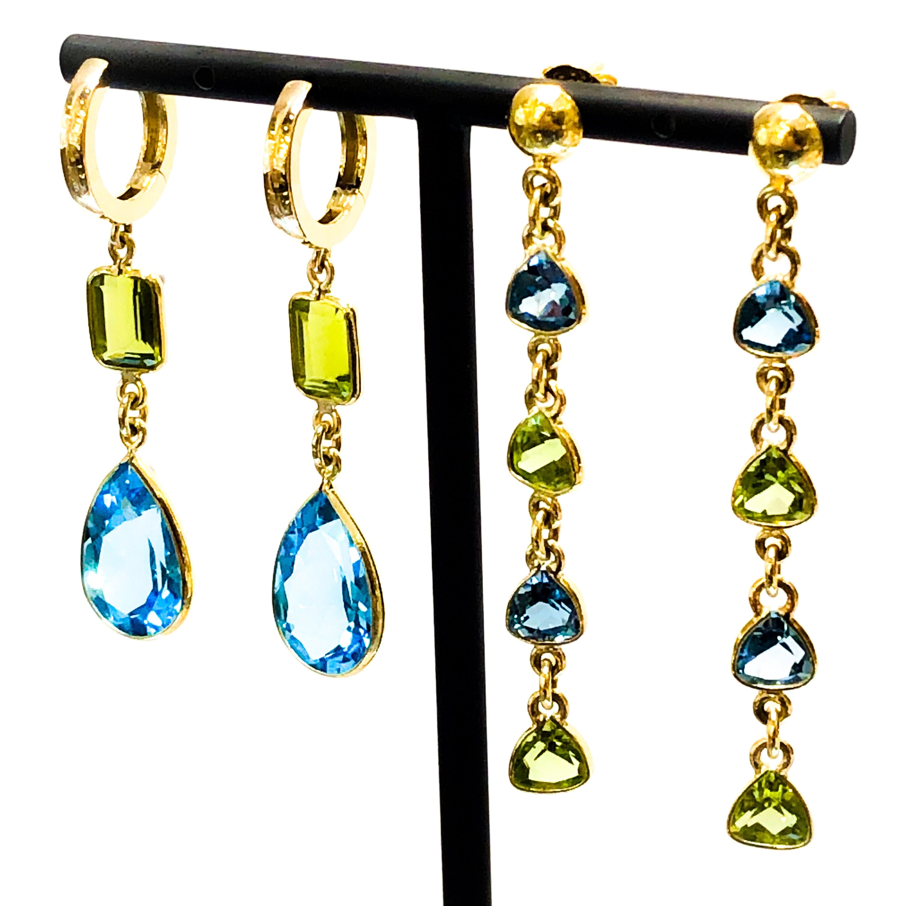 18kt Gold Peridot and Blue Topaz Dangle Earrings
