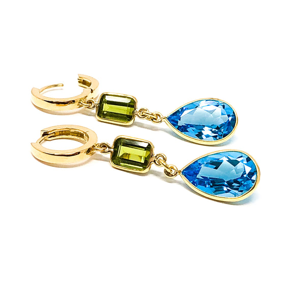 18kt Gold Blue Topaz and Peridot Dangle Earrings