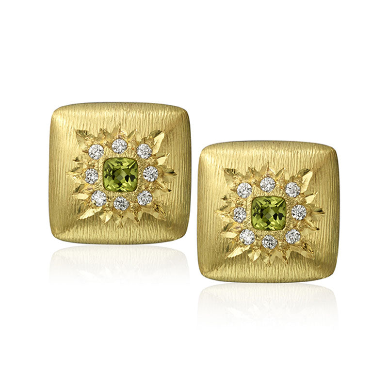 Yellow Gold Earrings with Peridot and Diamonds