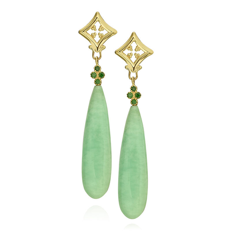 Yellow Gold Chrysoprase and Tsavorite Dangle Earrings