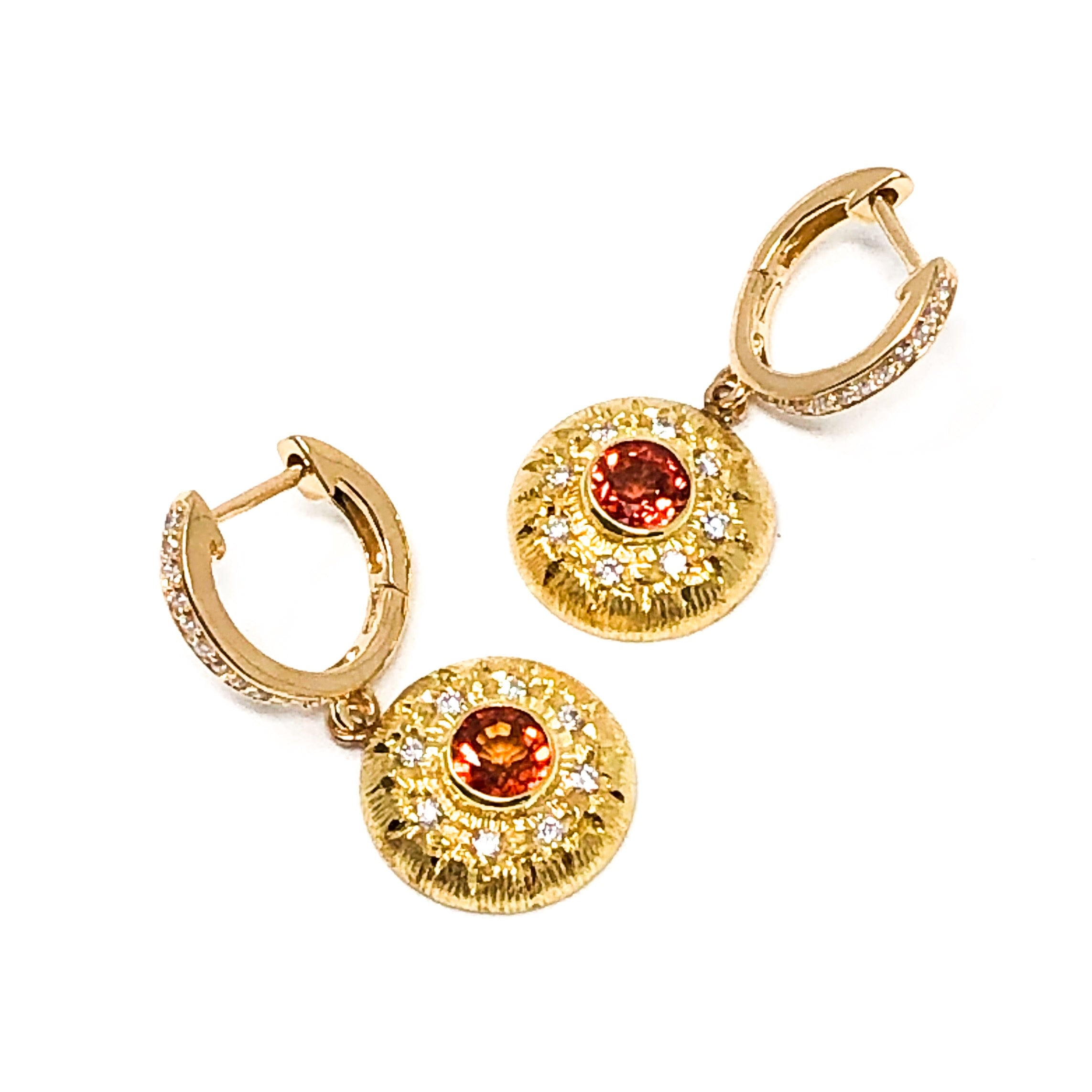 Orange Sapphire and Diamond Earrings