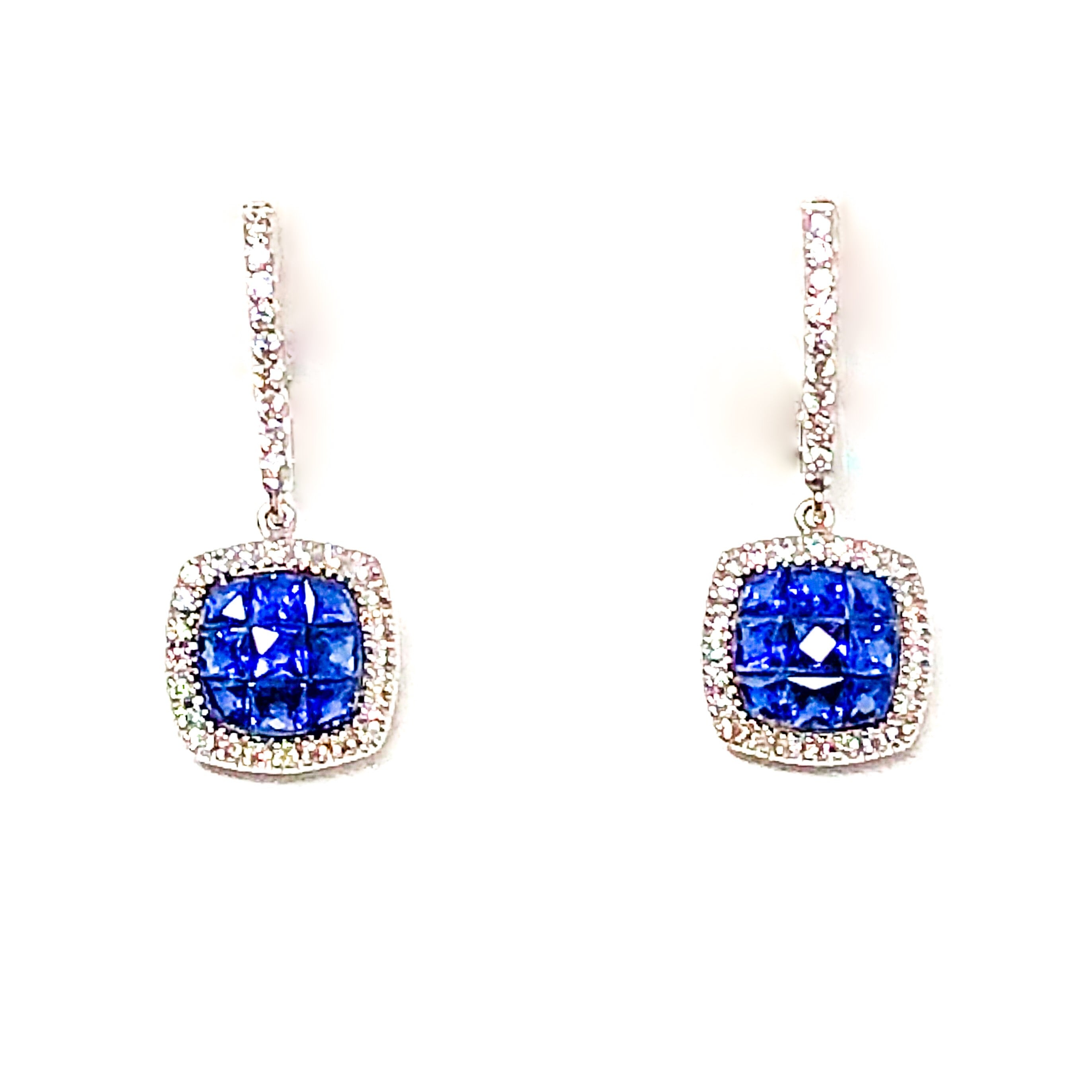 18kt White Gold Sapphire and Diamond Drop Earrings