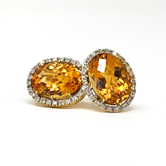 18kt Gold Citrine and Diamond Earrings