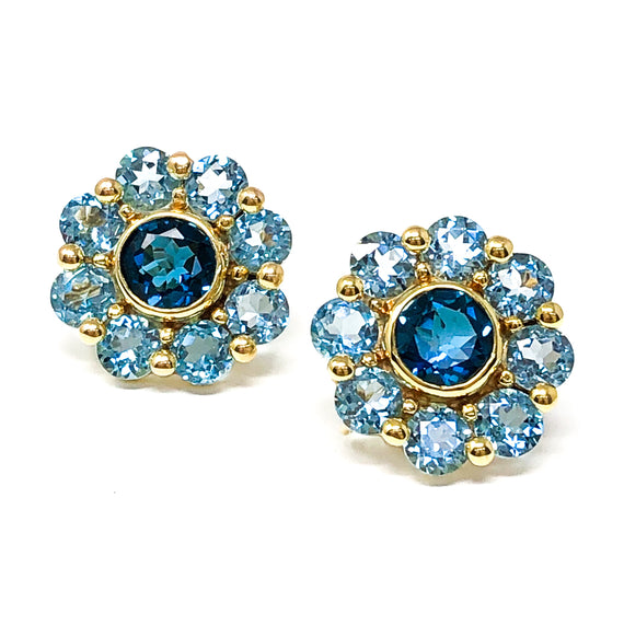 Yellow Gold Blue Topaz Earrings
