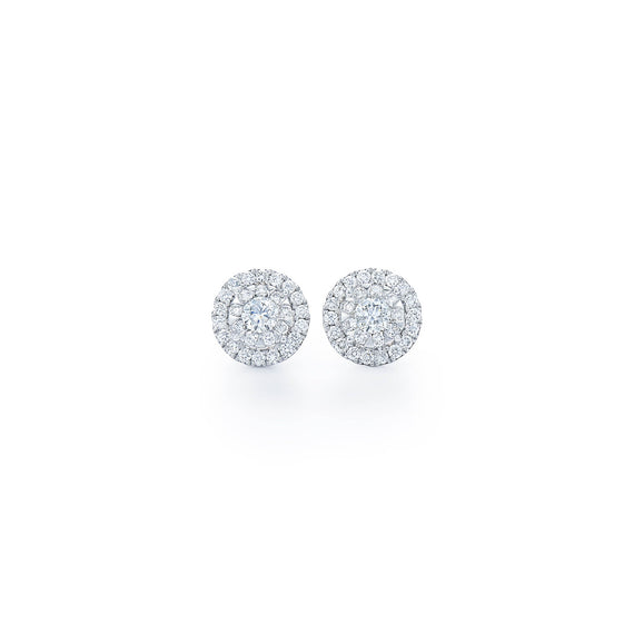 18k White Gold Kwiat Diamond Cluster Earrings