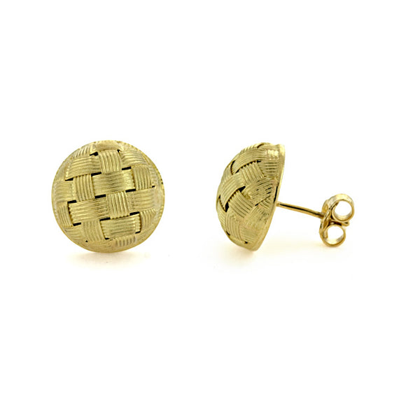 18kt Yellow Gold Button Earrings