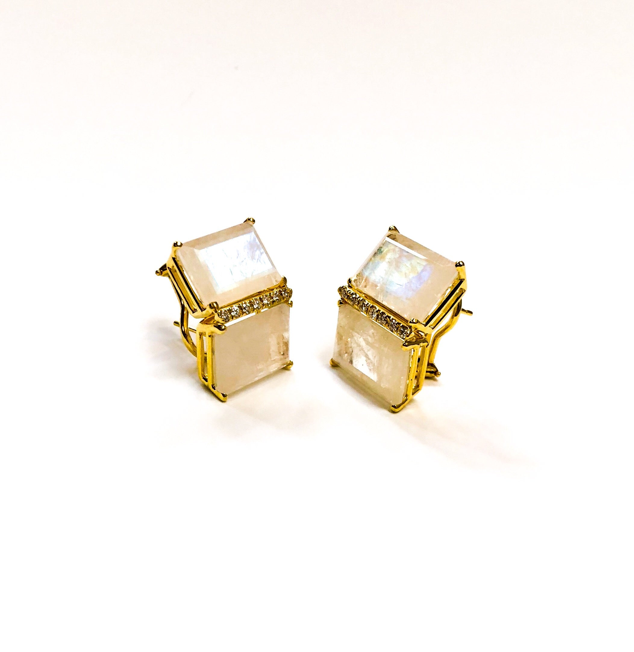 Twin Moonstone and Diamond Earrings