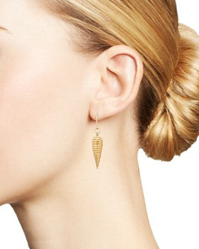 Yellow Gold Conical Earrings with Diamonds
