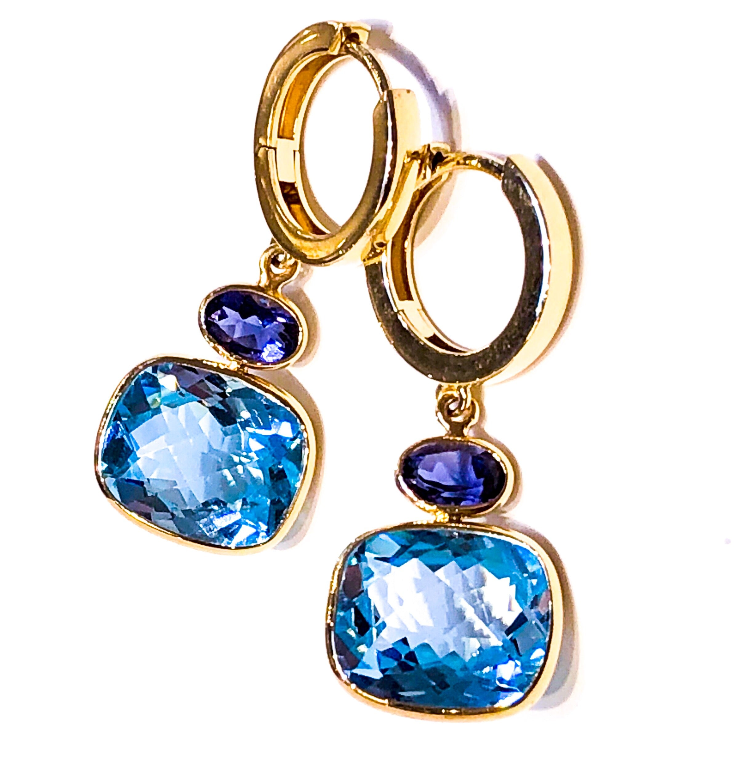 Blue Topaz and Iolite Drop Earrings