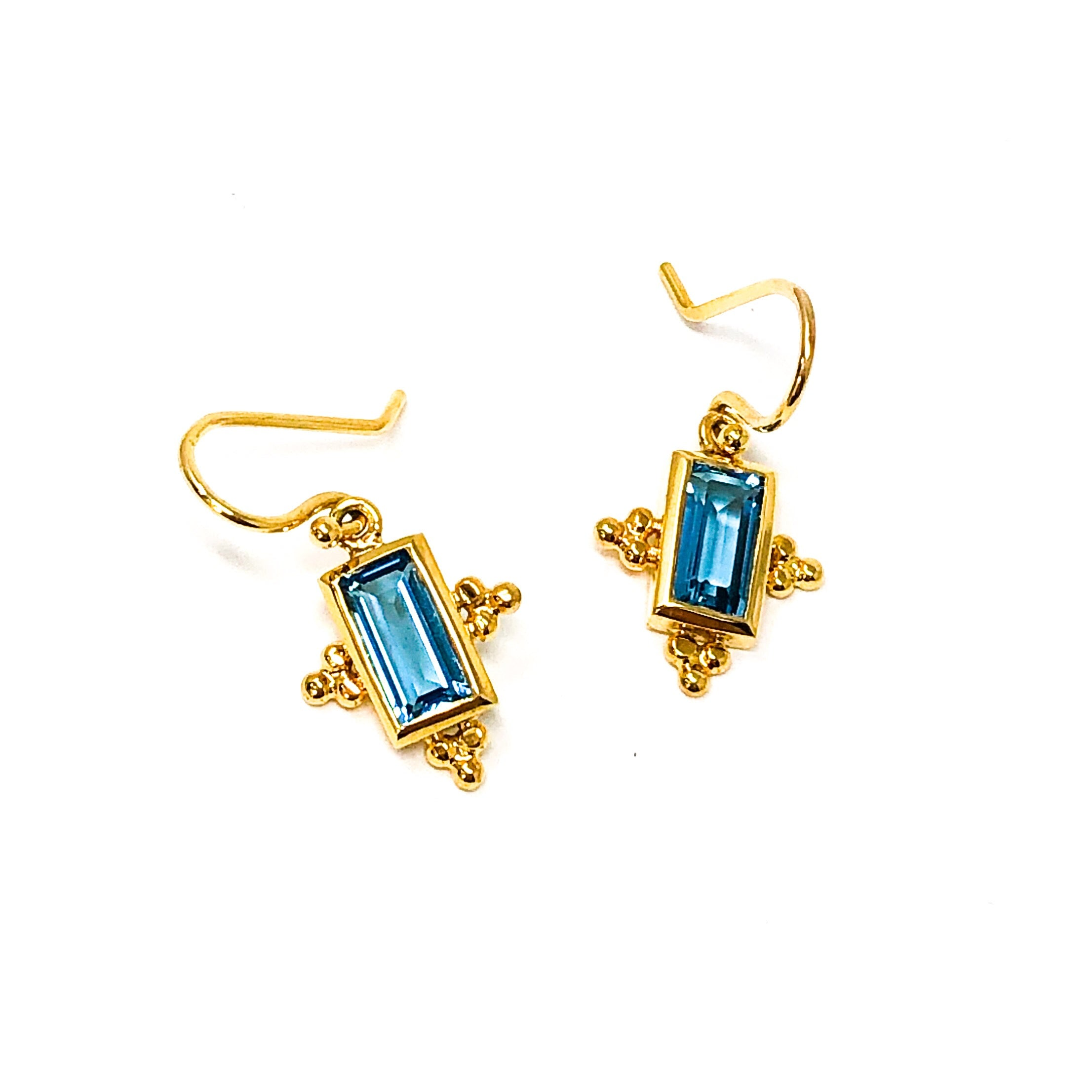 Mini Blue Topaz Drop Earrings