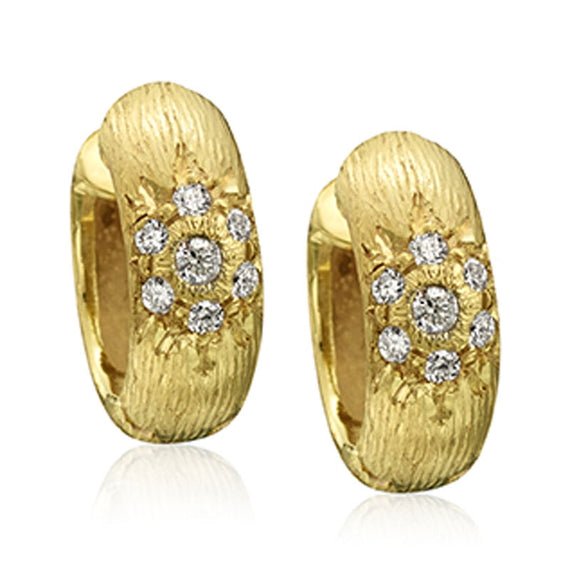 Yellow Gold Hinged Hoop Earrings with Diamonds