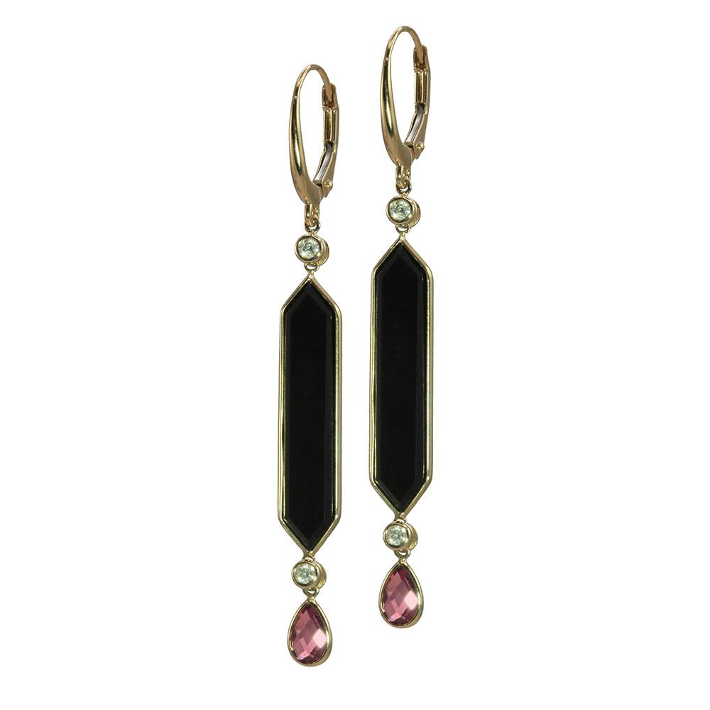 Olivia B Onyx and Garnet Earrings