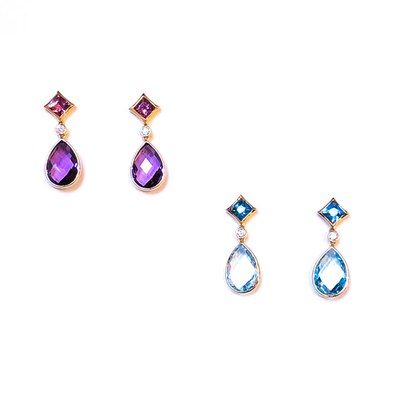 Pink Tourmaline and Amethyst or Blue Topaz Earrings