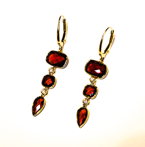 Garnet and Diamond Dangle Earrings