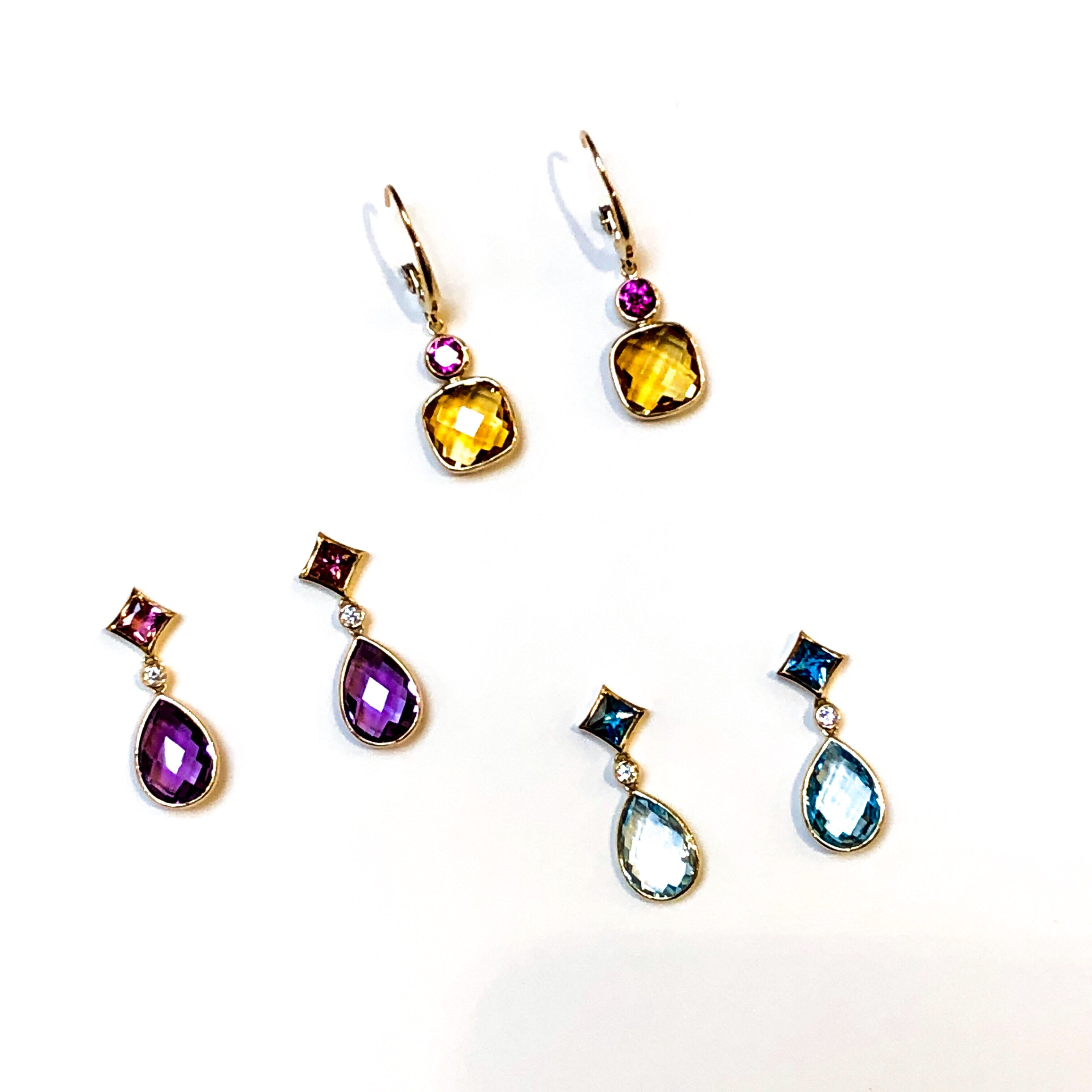 Citrine and Rhodolite Garnet Earrings