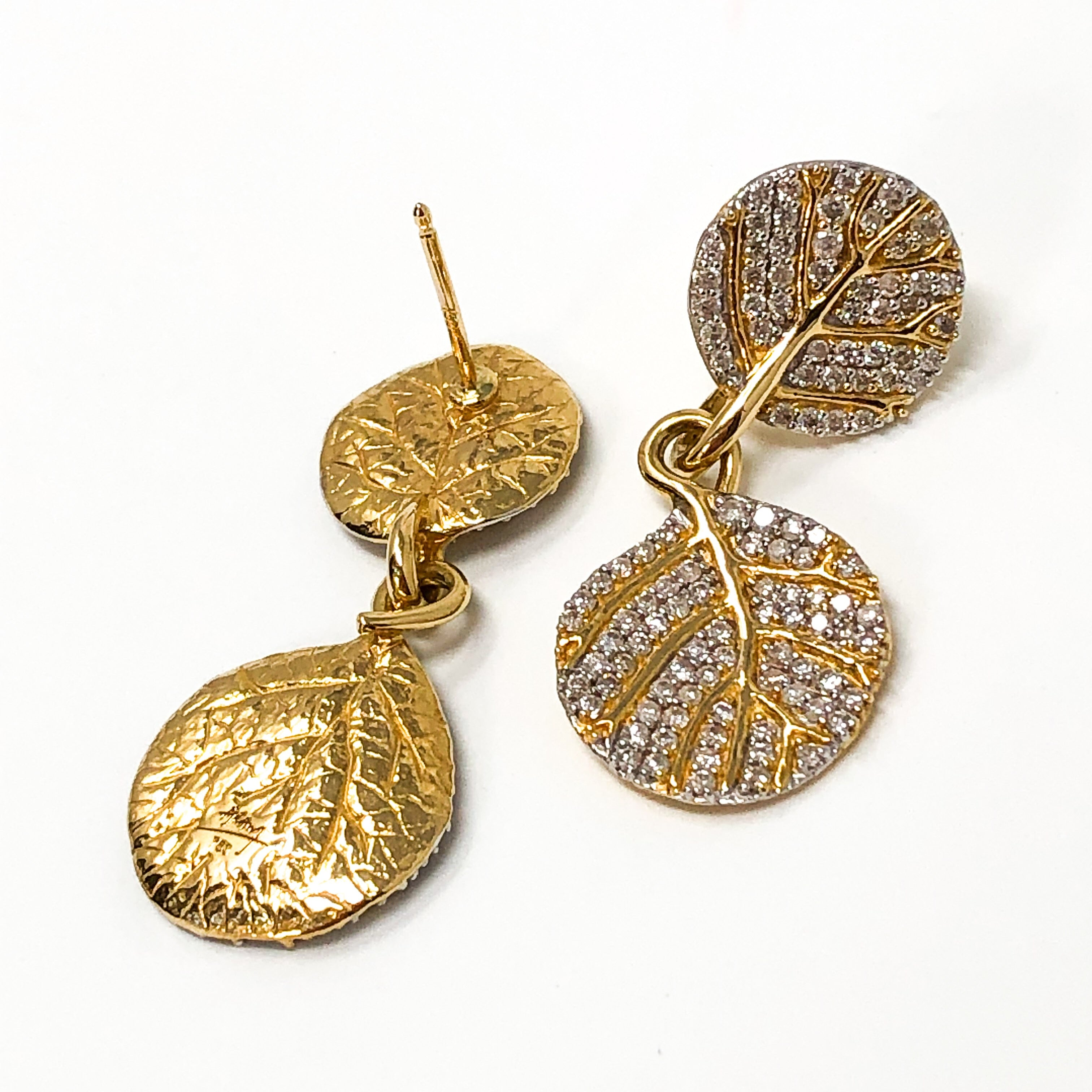 18kt Gold and Diamond Leaf Earrings
