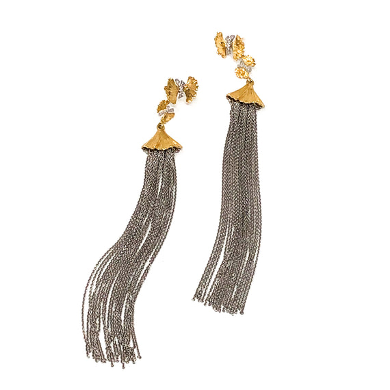18kt Gold and Sterling Tassel Earrings