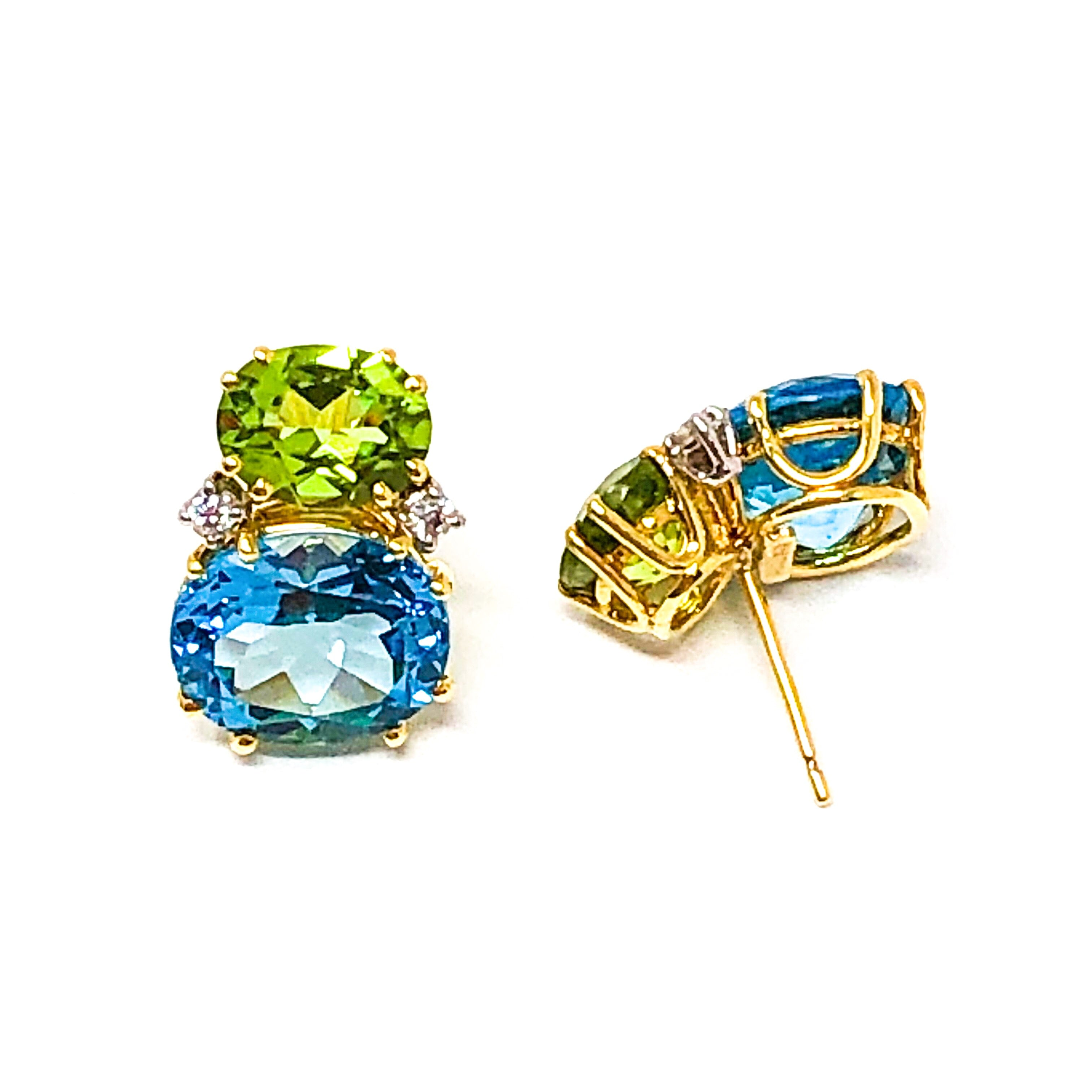 Blue Topaz and Peridot Earrings