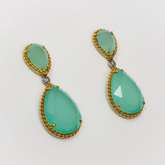 Green Chalcedony and Diamond Earrings