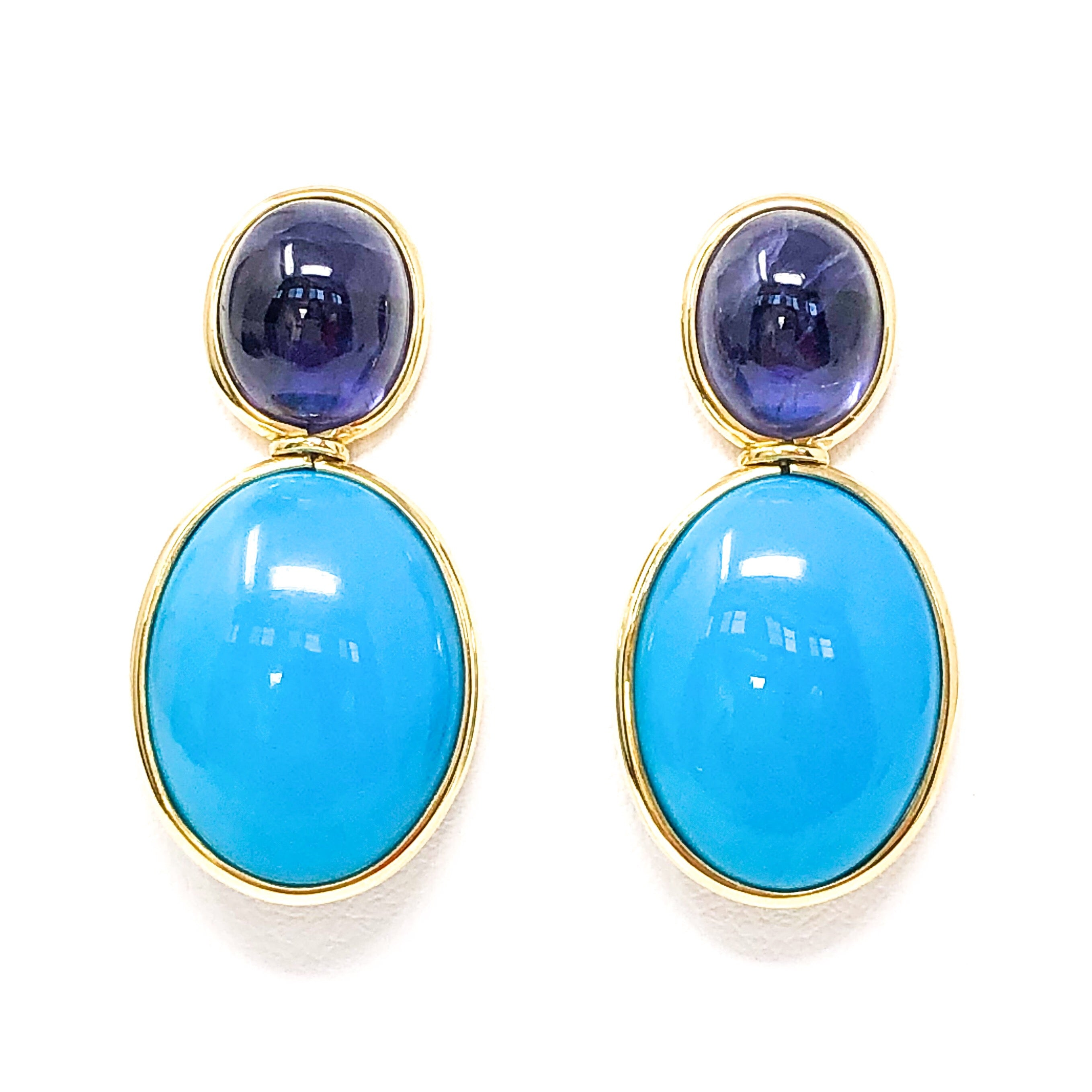 18kt Gold Turquoise and Iolite Earrings