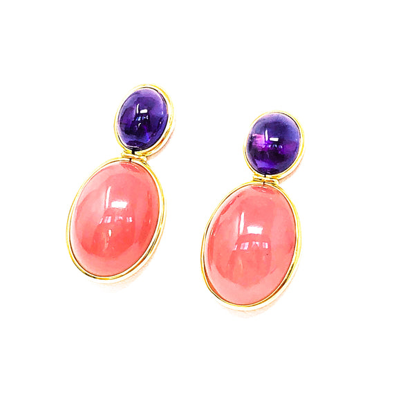 18kt Gold Pink Quartz and Amethyst Earrings