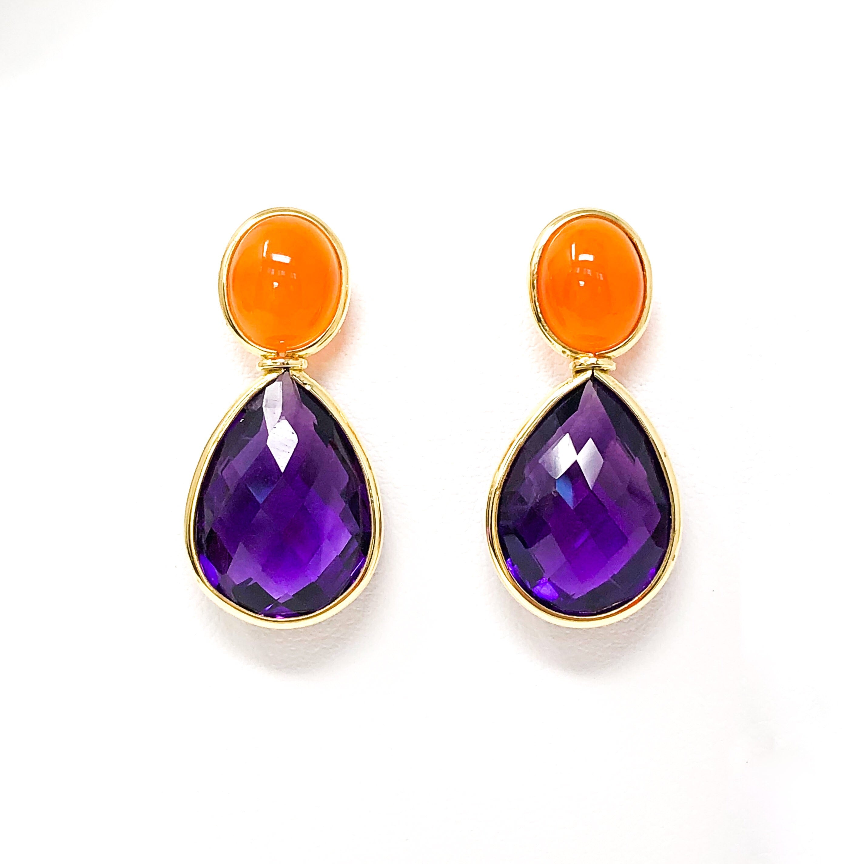 18kt Gold Carnelian and Amethyst Earrings