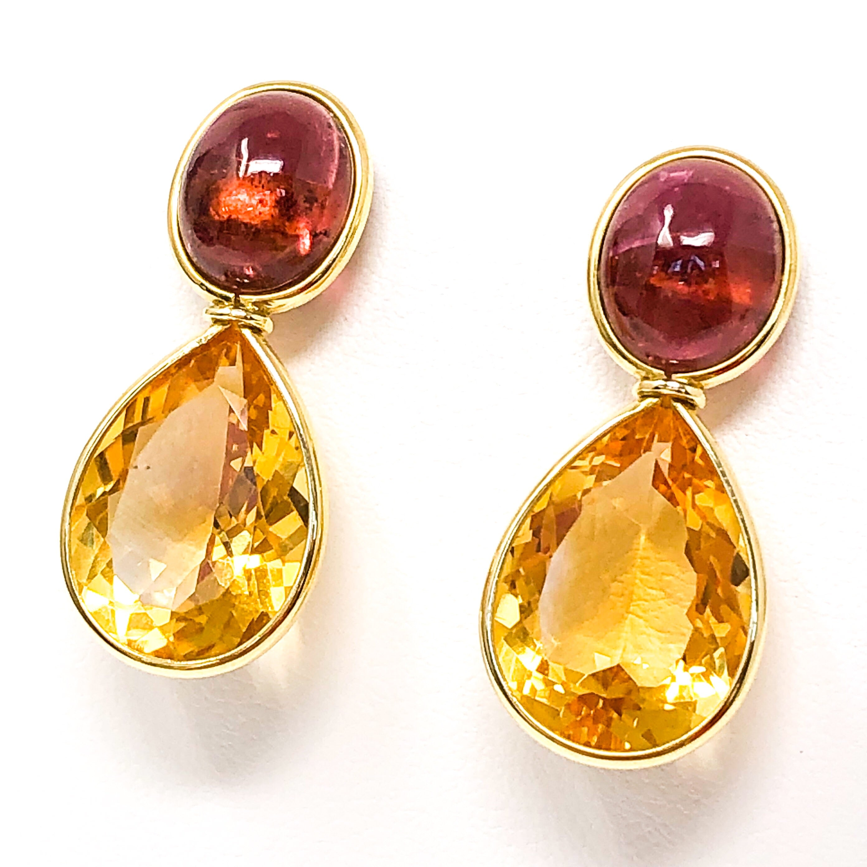 18kt Gold Pink Tourmaline and Citrine Earrings