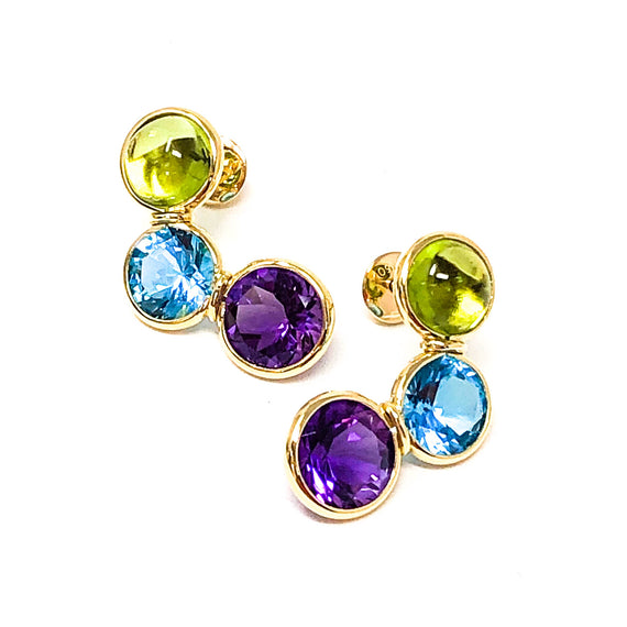 "18kt Gold ""Cool Colors"" Gemstone Earrings"