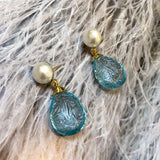 Pearl, Diamond & Blue Topaz Earrings