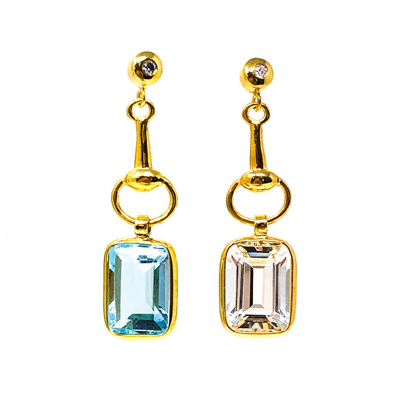 Yellow Gold Earrings with Topaz Drops